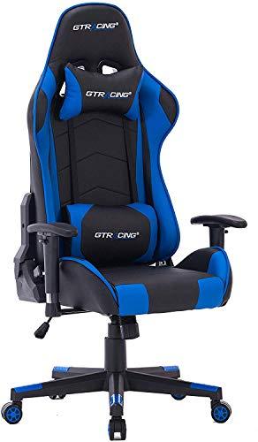 HOGAR24 ES -9222-Azul-Silla de Escritorio GT-Racing/Profesional Gamer/Silla de Oficina Ergonómica Gaming/Regulable, Reclinable/para Jugadores de PC.