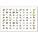 70 Pegatinas de transferencia del arte del tatuaje del clavo de la mariposa temporales