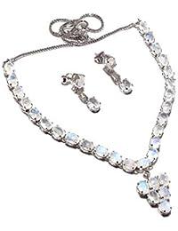 neerupam Collection chapado en blanco elegante arc-lune diamante piedra mirada plata rhodié y collar conjunto pendiente de ley para las mujeres