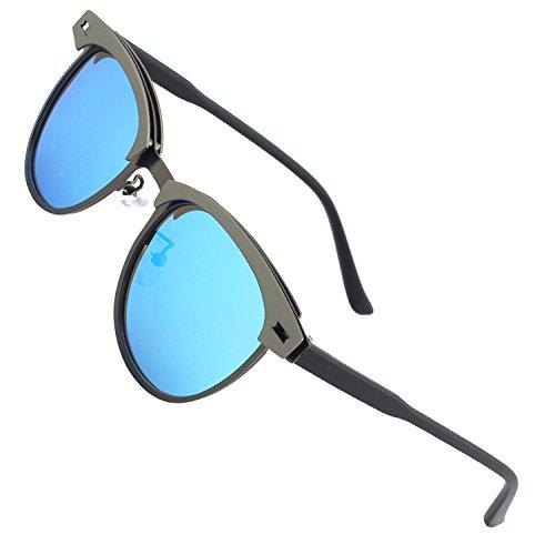 CGID Polarisierte Nerd Matt Verspiegelt Sonnenbrille Stil Modische Retro Vintage Für Herren Und Damen Unisex Brille 100% UV400 Schutz Ultra Leicht- 52, D Gun Blue
