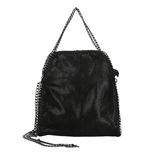 7350d7a2da Handtasche VIVIEN Lederlook Damen Schultertaschen mit Kette (noir Black01)