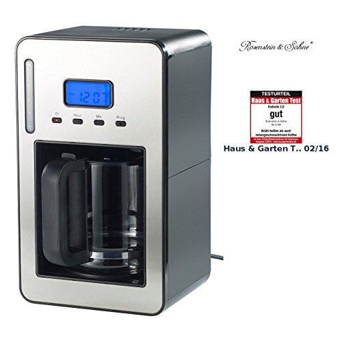 Rosenstein & Söhne Kaffeeautomat: Programmierbare Kaffeemaschine für bis zu 12 Tassen, 1.000 Watt...