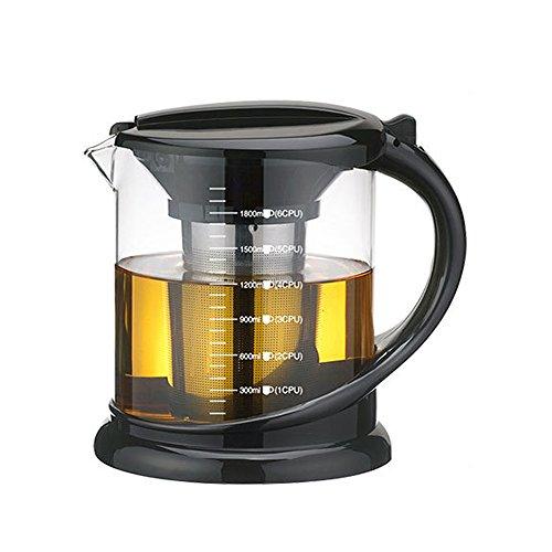 Edelstahl Brauen Topf (TAMUME 1000ML Schwarz Dauerhaft Glas-Teekessel mit Teekanne-Schutz und Edelstahl-Sieb Geeignet für Tee-Brauen (1000ml schwarz))