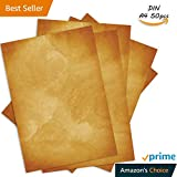 Papier vintage - Format A4-50 feuilles Recto Verso - Haute qualité - Effet ancien ou vieilli - Idéal pour Mariages, Scrapbooking, Invitations, Carte au trésor, Noel, Origami