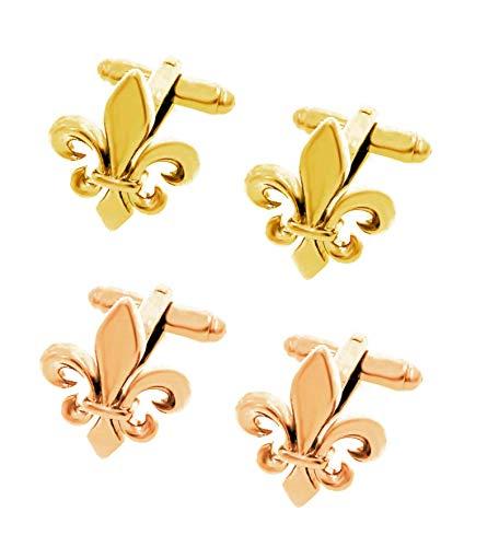 Unbekannt Lilien Manschettenknöpfe Mix rosévergoldet + golden glänzend rhodiniert 2 Paare + Geschenkboxen
