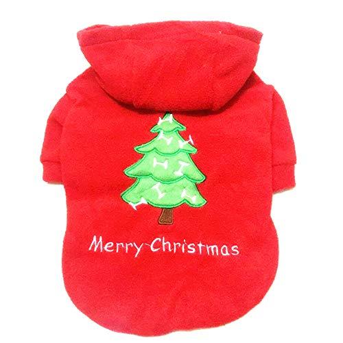 Weihnachtsbaum Kostüm Muster - Urijk Hund Kleidung Weihnachtskostüm Rot Weihnachtsbaum Muster Baumwolle mit Kapuzen Kostüm Mantel Pullover Bequeme Haustier Zubehör Weste für Weihnachten Dekoration