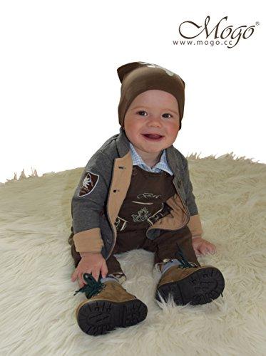 Babylederhose LANG, braun, 6-12 Monate, Stick in beige - 3