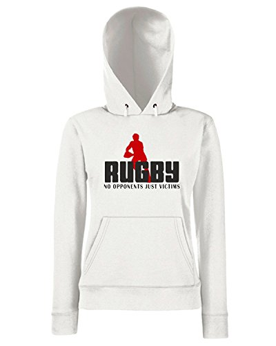 T-Shirtshock - Sweats a capuche Femme TRUG0051 rugby no opponents just victims white logo Blanc