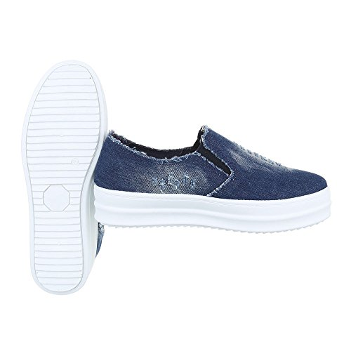 Ital-Design Slipper Damenschuhe Low-Top Moderne Halbschuhe Blau
