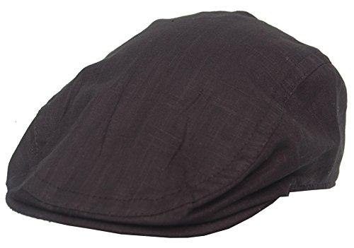 Cool4 Leinen Flatcap Schiebermütze Vintage Gatsby Kappe Retro Mütze Cap A03 (60, schwarz)