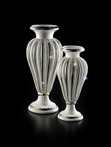 Stella -Keramik, Weiß-Platin-Athena, handgefertigter Vase Platin Vase