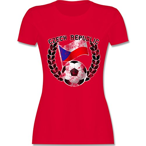 EM 2016 - Frankreich - Czech Republic Flagge & Fußball Vintage - tailliertes Premium T-Shirt mit Rundhalsausschnitt für Damen Rot