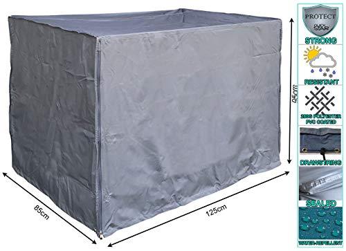 QUICK STAR Gitterbox Abdeckung 125x85x95cm Grau Schutzhaube Abdeckplane
