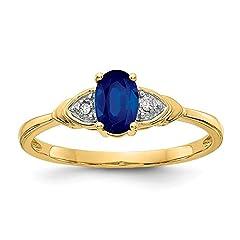 Idea Regalo - 14K Oro Giallo Diamante e Zaffiro Anello - Misura 7