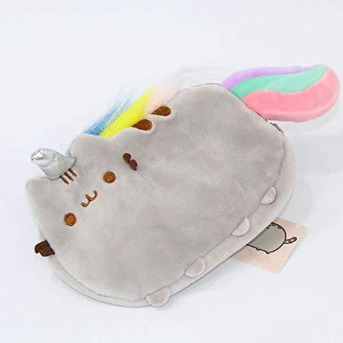 QIangpei Glaubbare Anime Cartoon Katze Plüsch Bleistift Fall Niedliche Katze Zip Münze Tasche Tasche Münztasche H02(None Rainbow Cat-18x12cm) -