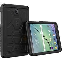 Funda Galaxy Tab S2 8.0 - Poetic [Serie Turtle Skin] Funda Galaxy Tab S2 8.0 - [Protección Esquina/Parachoques] [Amplificación de Sonido] Funda Protectora de Silicón para Samsung Galaxy Tab S2 8.0 Negro (3 Años Garantía del Fabricante Poetic)