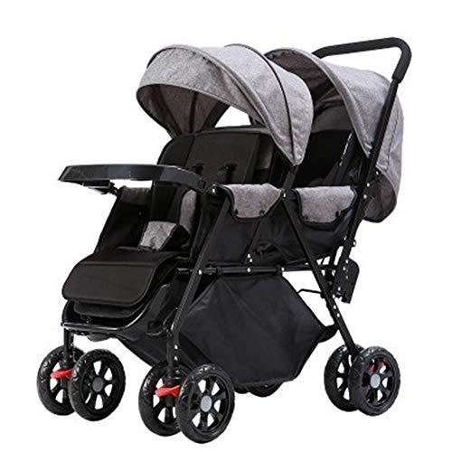 Baby trolley Cochecitos Gemelos. El Carro Plegable Doble se Puede Empujar en ambas direcciones, el Cochecito Doble para niña y el Bastidor de niño estabilizador de Cochecito y Bolsa organizadora