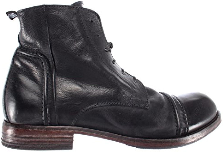 Zapatos Hombre Botas MOMA 64702-R2 Pelle Piel Negro Vintage Made Italy Nuevos