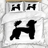 Soefipok Bettbezug-Sets Form Hund Französischer Pudel Wildlife Show Schwarz Gebläse Charakter Design Mikrofaser Bettwäsche mit 2 Kissenbezügen