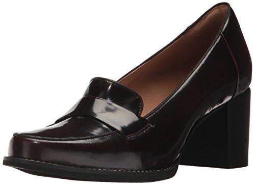 CLARKS Women's Tarah Grace Penny Loafer, Burgundy Shiny Leather, 7 M US