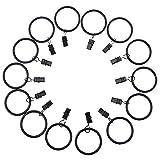 Rinalay Anelli per Tende da 14 Chic Casual Pezzi Anelli per Tende con Clipper per Aste per Tende (Diametro S 24,5 33Mm Nero) Design Orientale Mediterraneo Design Tende Ornamentali per Tende