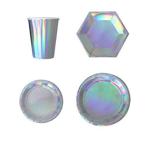 Party Teller Kuchenform für Geburtstag und Feiern mehrfarbige Einweg Serviertablett Hochzeit Laser Tasse Gericht Abendessen Geschirr Tassen Dekoration ()