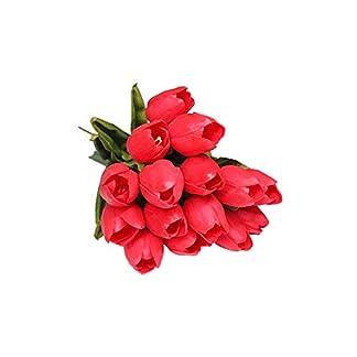 Thumbelin 15 Piezas Artificiales tulipán Flores realistas Tulipanes Tulipán Hermoso PU Flores de los Tulipanes de Inicio Salón de Fiestas decoración de la Oficina (Rojo)
