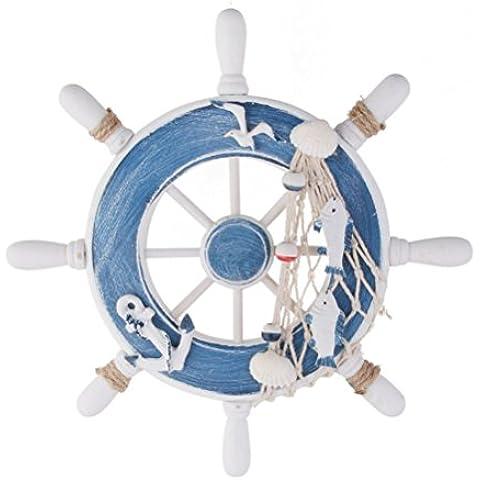 PIXNOR Rueda de buque de estilo Mediterráneo, nórdico barco de madera barco volante Inicio pared decoración