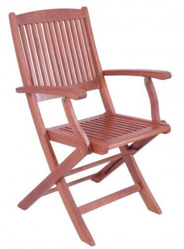 Lot de 2 chaise pliante avec accoudoirs en bois d'eucalyptus fSC huilé