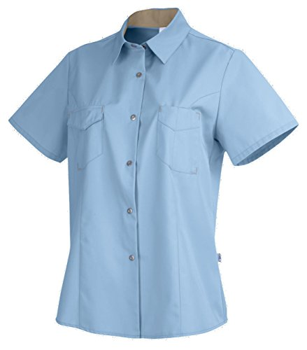 clinicfashion Damen Bluse hellblau, Kurzarm, Mischgewebe Stretch, Größe XS-XXL Hellblau