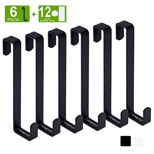 ACMETOP 6 Stück Türhaken, Umschaltbare Kleiderhaken Tür, Tür Haken Mit Schaumstoff Schutz, Robuster Metall-Türgarderobe für Türbreiten 2.3 cm und 1.3 cm (Schwarz)