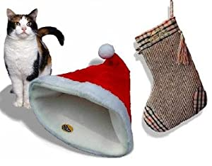 Cleo Pet Santa Hat Crinkle Cat Bed & Xmas Stocking Cat Scratcher - a superb present! by Cleo Pet Ltd