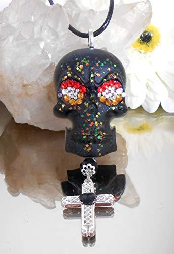 Halskette mit Anhänger aus Resin Harz Schädel schwarz Glitzer - Strass - Kreuz - Kunstleder Band - Handmade / A144