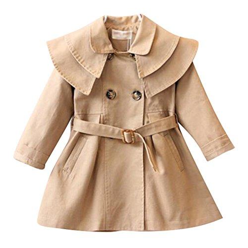 , Doppel Wölbung Warm Wintermantel mit Gürtel Mantel Outerwear Khaki/130cm (Kind Trenchcoat Kostüm)