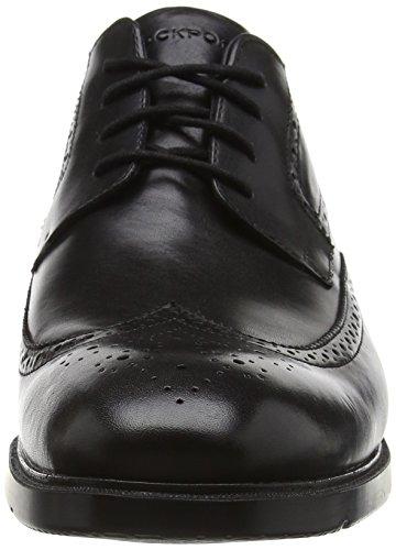 Rockport City Smart Wing Tip, Herren Derby Schnürhalbschuhe Schwarz (Black Leather)