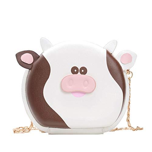 MA87 Damen Umhängetasche Cartoon Pouch Dairy Bag Schulter Diagonal Bag Kleine runde Tasche (Braun)