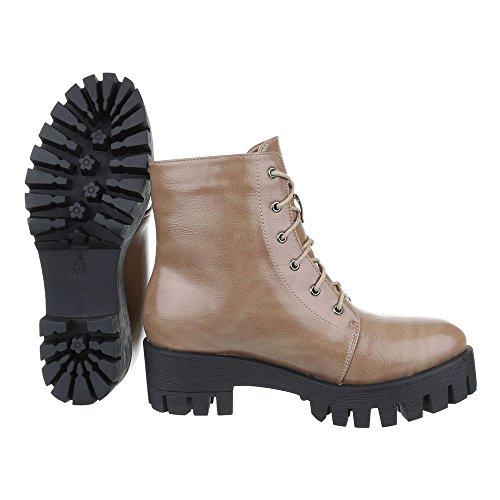 Ital-Design Schnürboots Damen Schuhe Combat Boots Blockabsatz Schnürer Schnürsenkel Stiefeletten Grau Braun