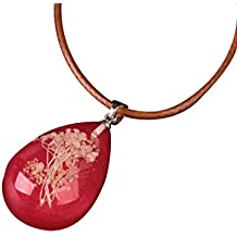 Hot Sale !!! Women's Fashion Luminous Dried Flower Pendant,Girls Teardrop Jade Necklace Charm Chain Jewelry Valentine's Day Present By Vovotrade