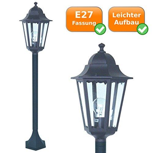 Stilvolle Gartenleuchte 1,75Meter, Wegleuchte E27-Fassung, für Leuchtmittel bis 60Watt, schwarz