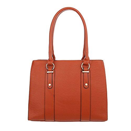 iTal-dEsiGn Damentasche Mittelgroße Schultertasche Handtasche Kunstleder TA-K678 Rot Orange