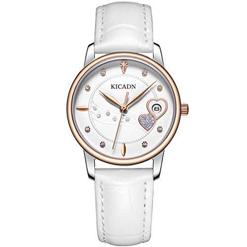 KICADN Damen Wasserdicht Uhr Mode Diamant Analog Quarz mit Weiß Leder Armband Rose Gold KSL2028LTRWE-7N0