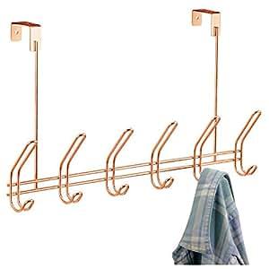 InterDesign Classico Door Clothes Hanger with 6 Double Hooks, Door Hooks for Jackets, Hats or Towels, Made of Metal, Copper