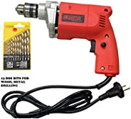 Cheston 10mm Powerful Drill Machine for Wall, Metal, Wood Drilling with 13 HSS bits for Drilling in Wood, Meta