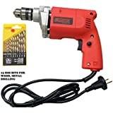 Cheston 10mm Powerful Drill Machine for Wall, Metal, Wood Drilling with 13 HSS bits for Drilling in Wood, Metal, Plastic