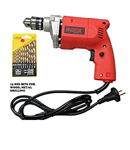Cheston 10mm Powerful Drill Machine for Wall, Metal, Wood Drilling with 19 HSS bits for Drilling in Wood, Metal, Plastic