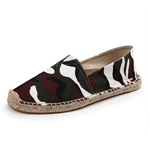 TWGDH Camouflage Espadrille Schuhe Lässige Flache Schuhe Unisex Atmungsaktive Leinwand Slip Auf Trainer Pumpen Schuhe,Camouflage,41 - Schuh-leinwand-pumpe