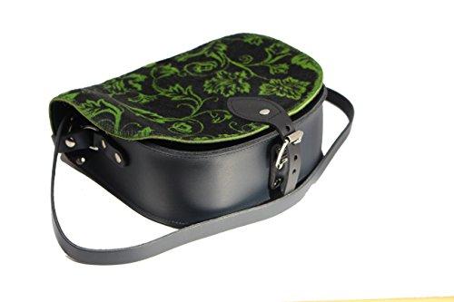 Pelle bovina reale cuoio Croce borsa corpo con fibbia di chiusura e tracolla regolabile verde Floral Stampare