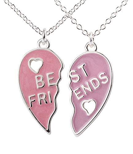 SIX Kids Halskette, 2er Set Ketten für Kinder mit rosa Herzanhänger mit der Aufschrift Best Friends (297-768) (Kostüme Freundin Disney Beste)
