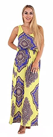 Womens Bubble Toga Racer Back Jersey Vest Ladies Printed Long Balloon Maxi Dress#(Yellow and Blue Bubble Toga Long Maxi Dress#UK