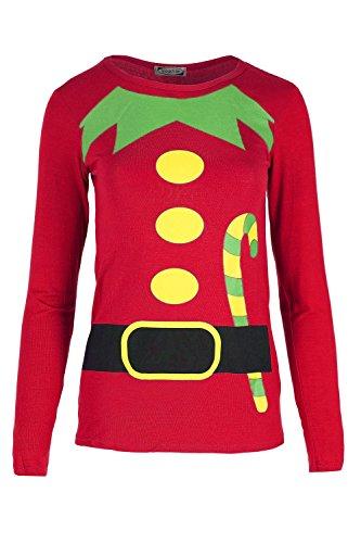 Oops Outlet Damen Weihnachtsmann-helfer Party T-shirt Damen Weihnachten Langärmlig Kostüm Oberteile - Rot, ()